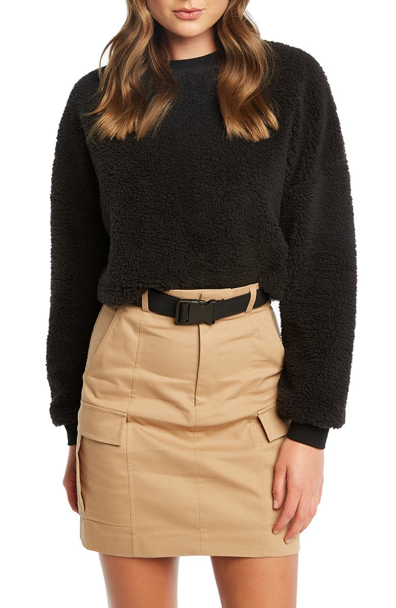 BARDOT Teddy Sweatshirt, Main, color, BLACK