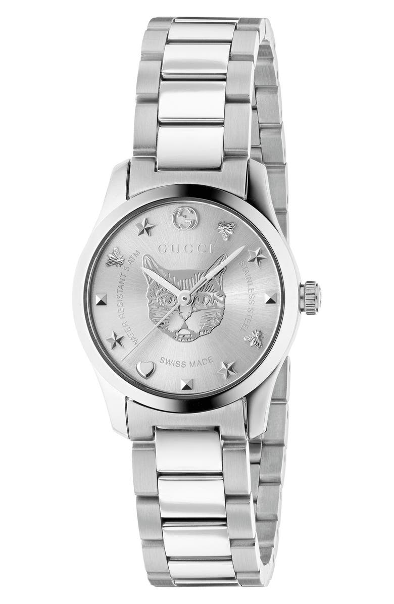 GUCCI G-Timeless Bracelet Watch, 27mm, Main, color, SILVER