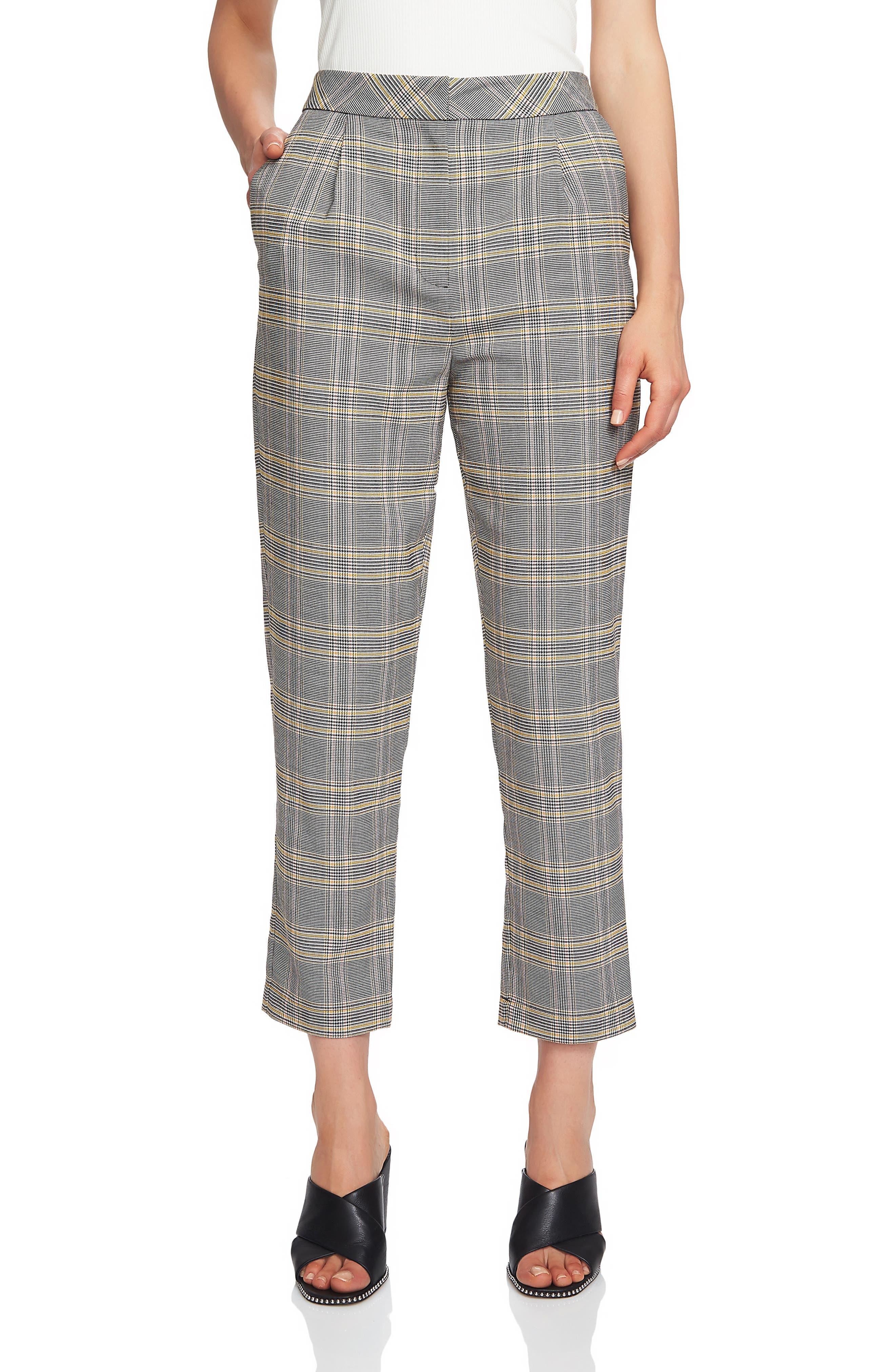 Menswear Plaid Taper Ankle Pants, Main, color, RICH BLACK