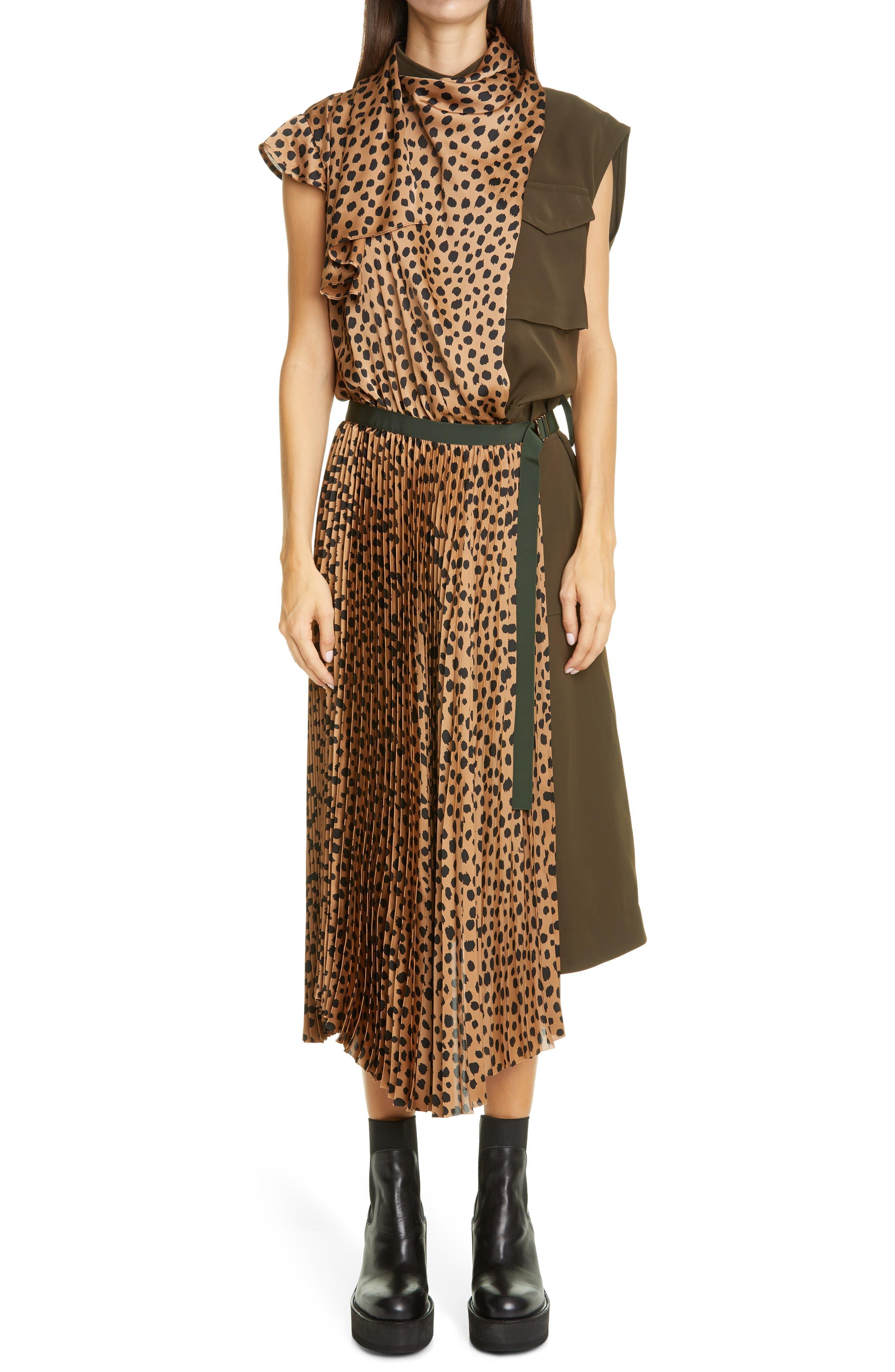 Sacai Cheetah Print Mixed Media Pleated Dress   Nordstrom
