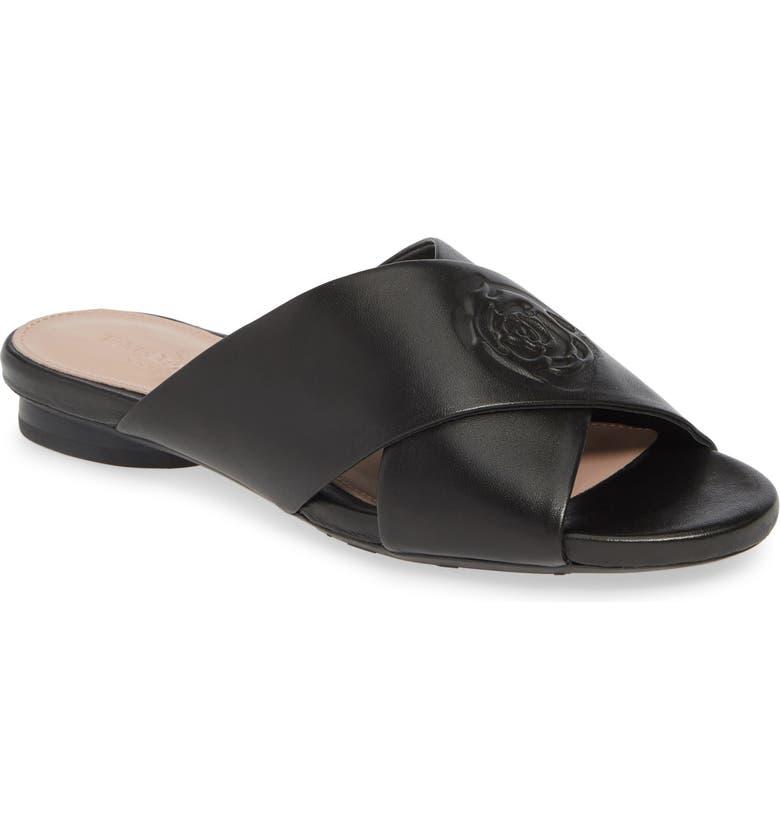 TARYN ROSE COLLECTION Leah Slide Sandal, Main, color, BLACK LEATHER