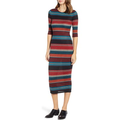 Sentimental Ny Knit Stripe Midi Dress, Blue