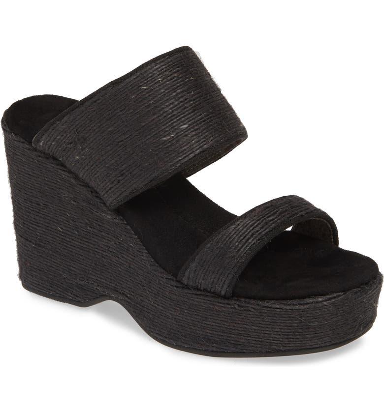 BAND OF GYPSIES Dusk Wedge Slide Sandal, Main, color, BLACK