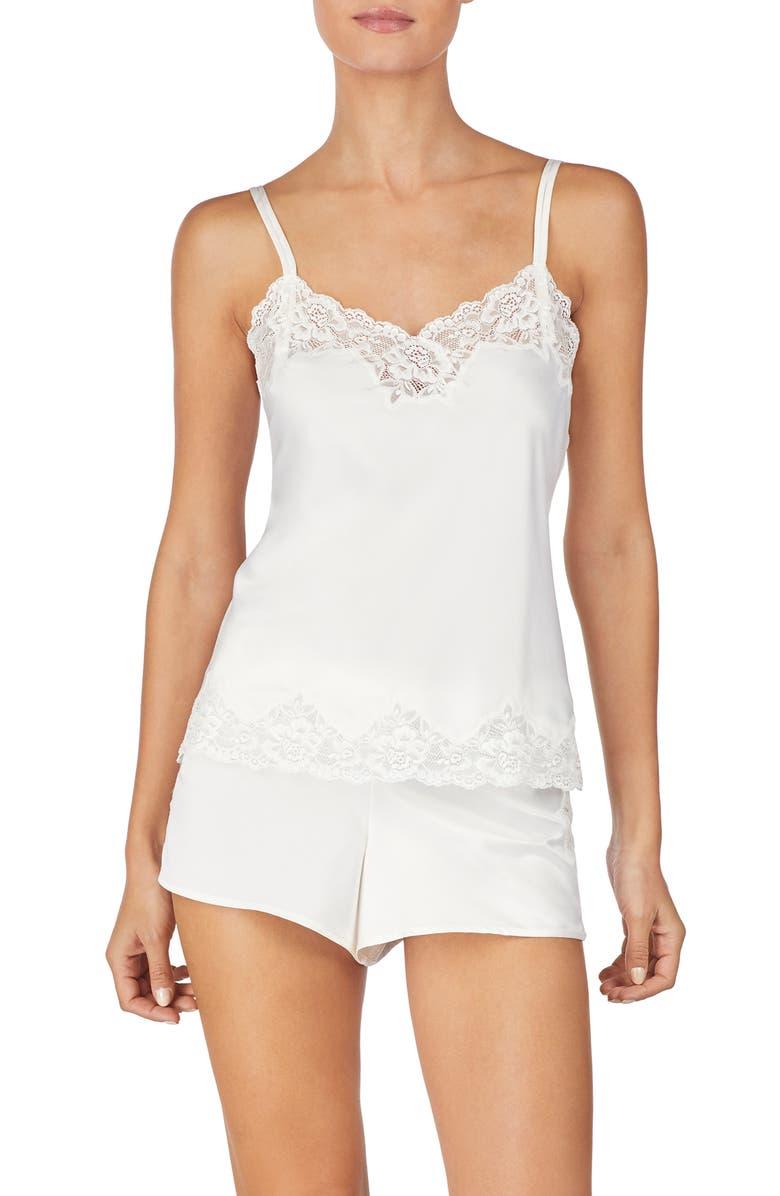 LAUREN RALPH LAUREN Lace Trim Short Pajamas, Main, color, IVORY