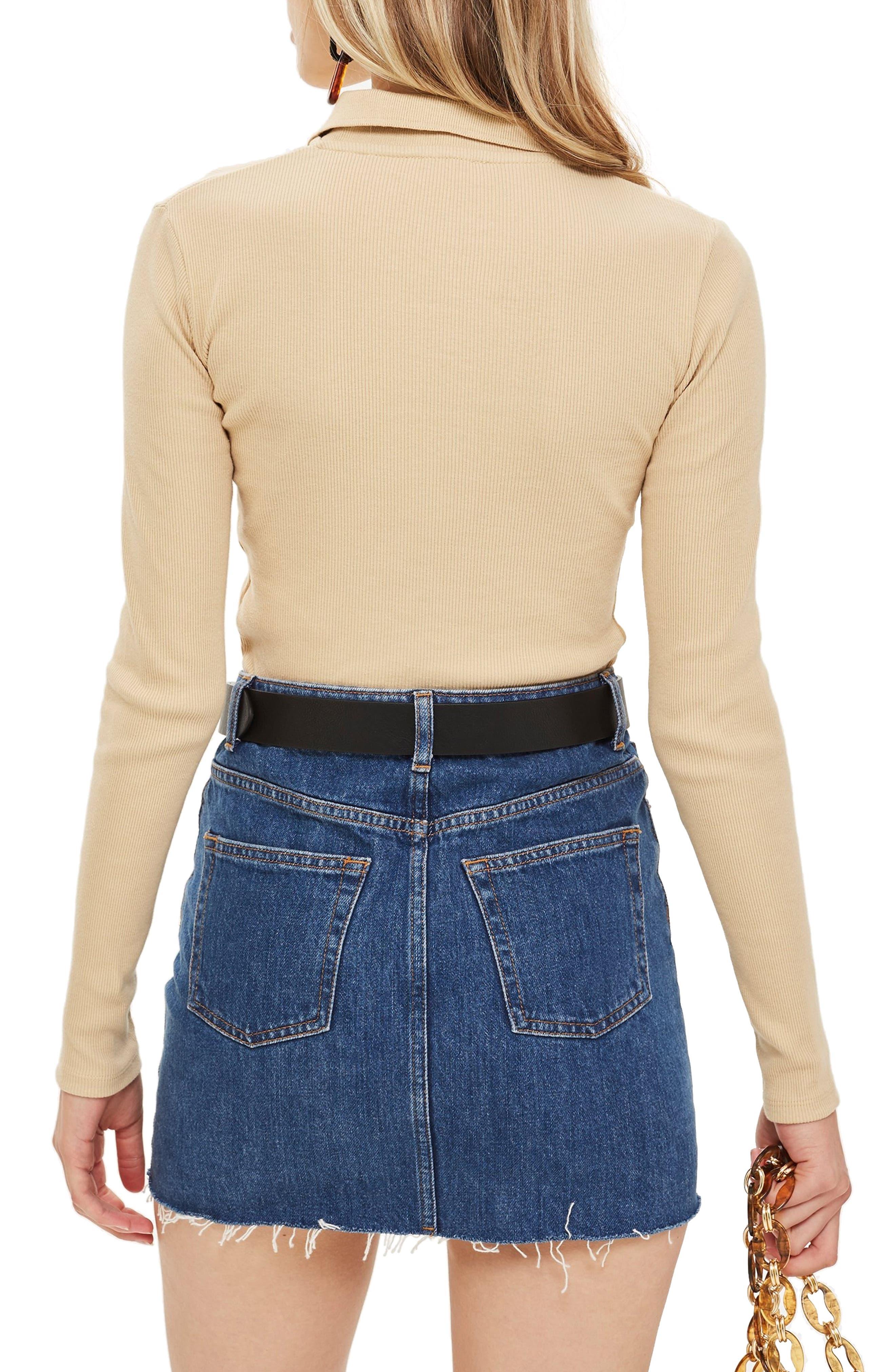 ,                             Front Zip Polo Shirt,                             Alternate thumbnail 2, color,                             STONE