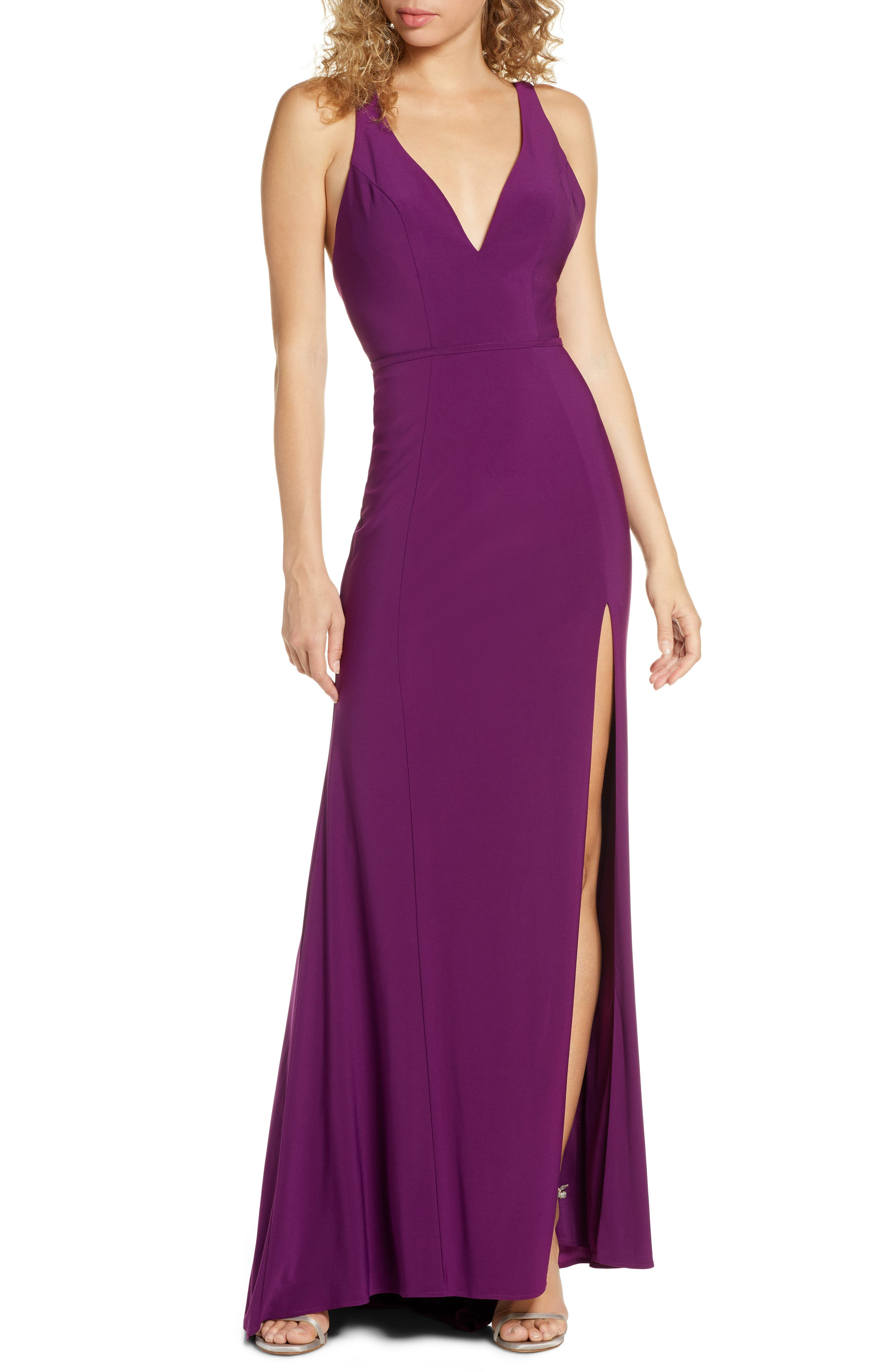 MAC Duggal Plunge Neck Slit Jersey Gown, Purple