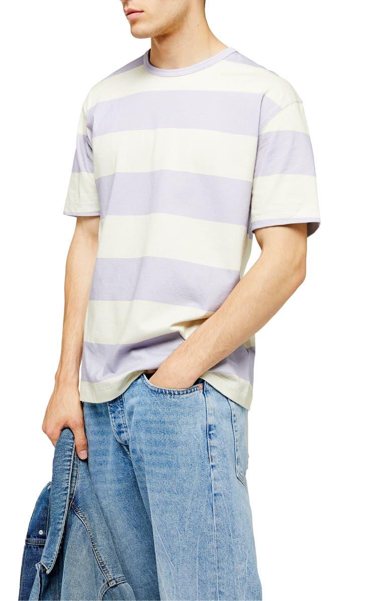 TOPMAN Block Stripe Oversize T-Shirt, Main, color, PURPLE MULTI