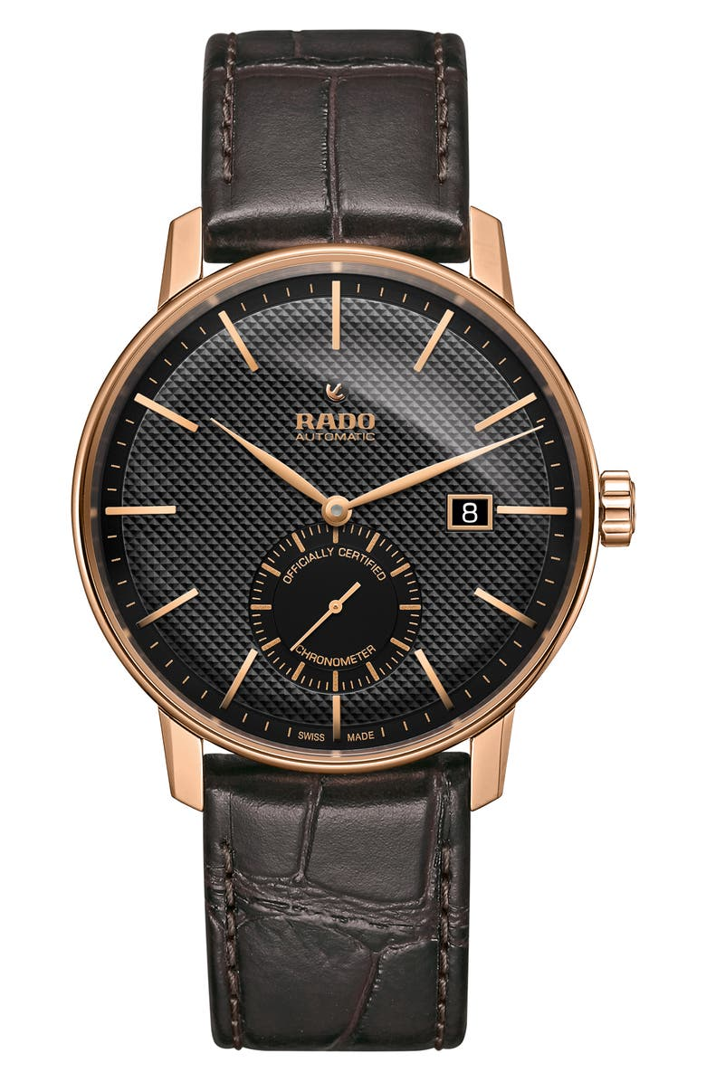 RADO Coupole Classic Automatic Leather Strap Watch, 41mm, Main, color, BROWN/ BLACK/ ROSE GOLD