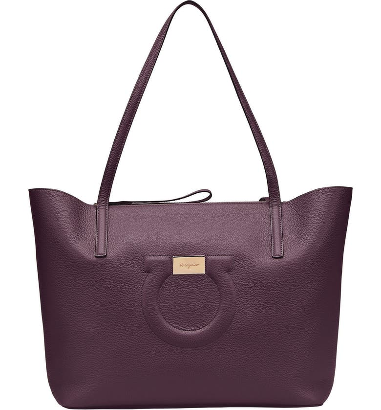 SALVATORE FERRAGAMO City Quilted Gancio Leather Tote, Main, color, NEBBIOLO