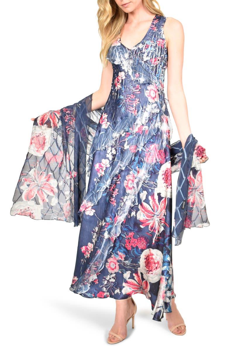 KOMAROV Side Ruffle Charmeuse & Chiffon Maxi Dress with Shawl, Main, color, BLOSSOM BORDER