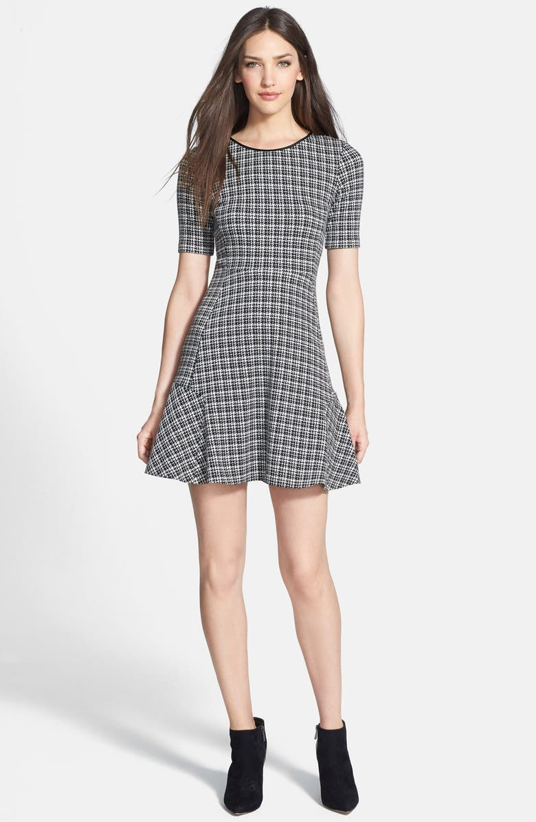 THEORY 'Nikay' Houndstooth Woven A-Line Dress, Main, color, 001