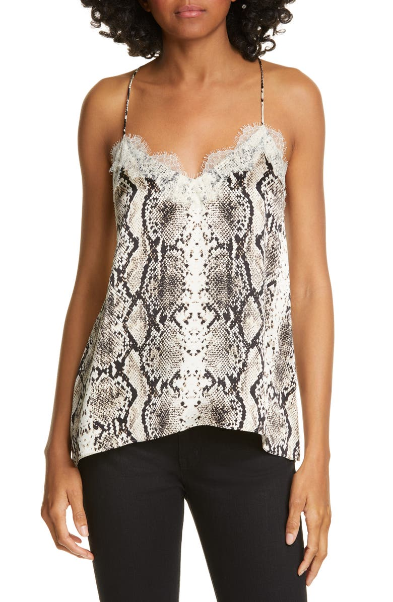 CAMI NYC The Racer Snake Print Silk Camisole, Main, color, SNAKE