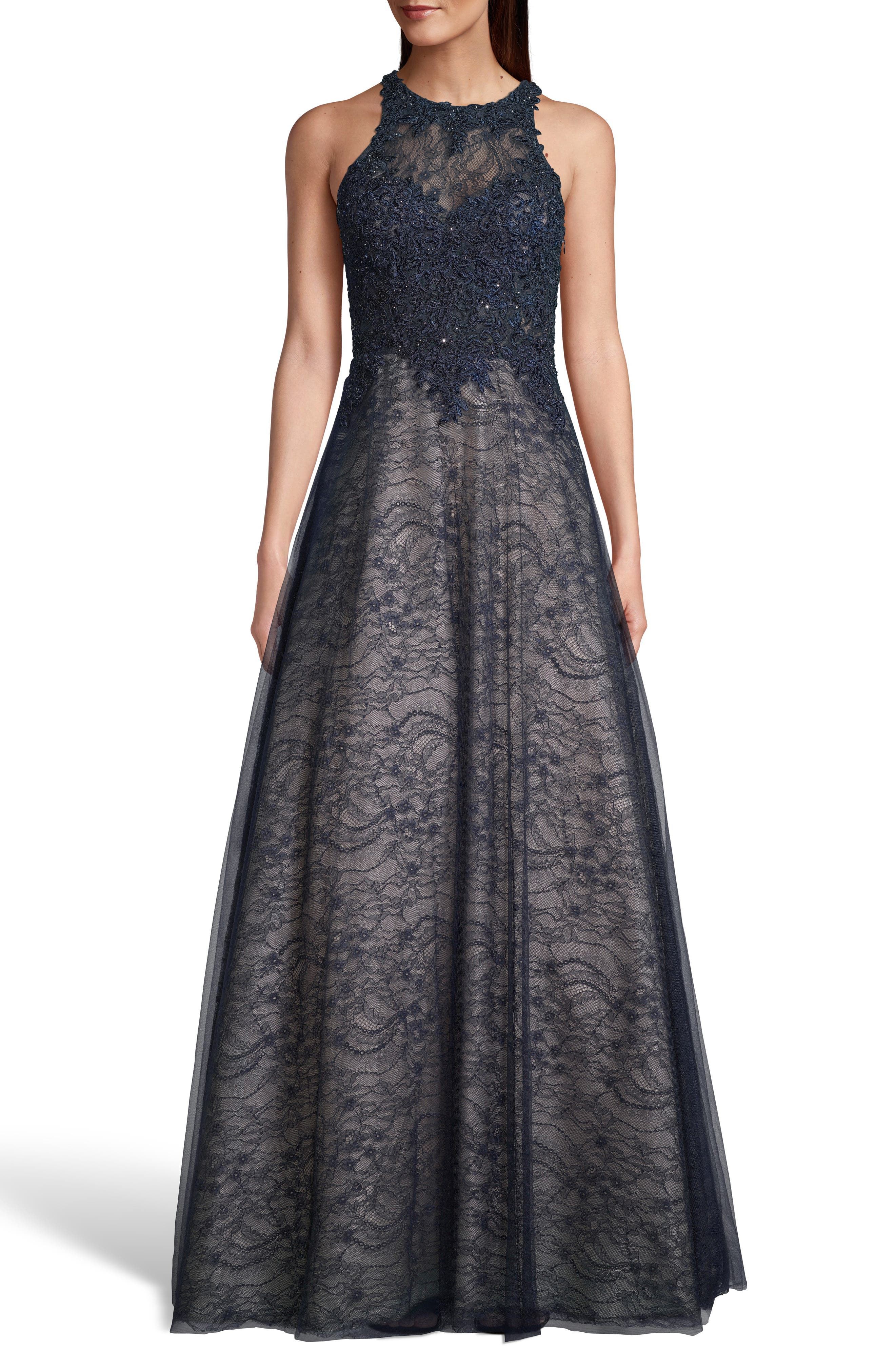 ,                             Sparkling Lace Evening Dress,                             Alternate thumbnail 4, color,                             NAVY