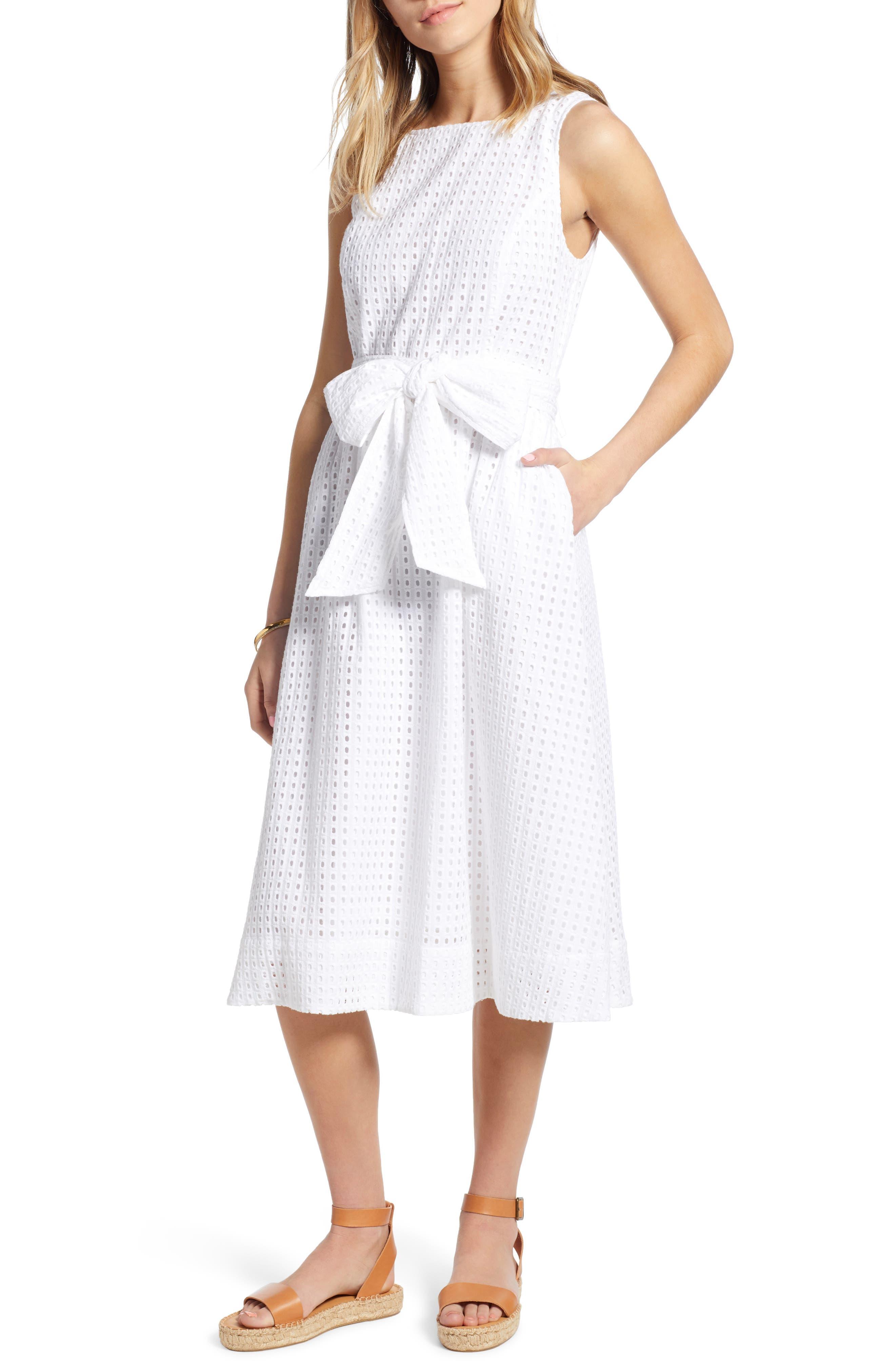 Petite 1901 Tie Waist Eyelet Dress, White