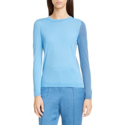 Partow Greta Colorblock Virgin Wool Sweater, Blue