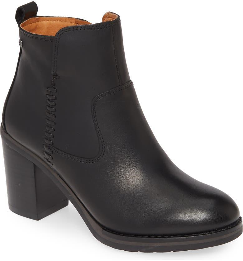 PIKOLINOS Pompeya Block Heel Bootie, Main, color, BLACK LEATHER