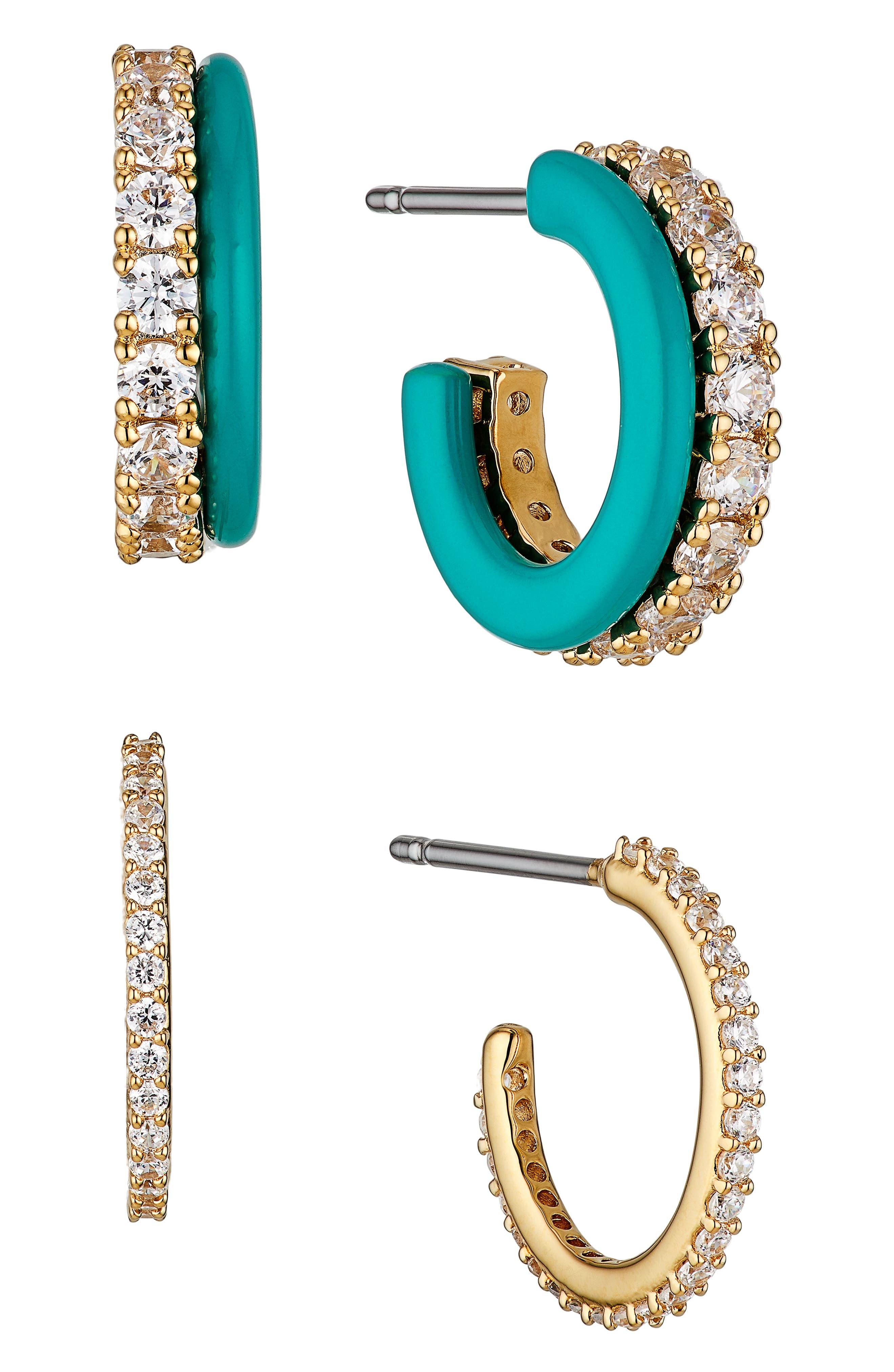 Set Of 2 Pave Hoop Earrings