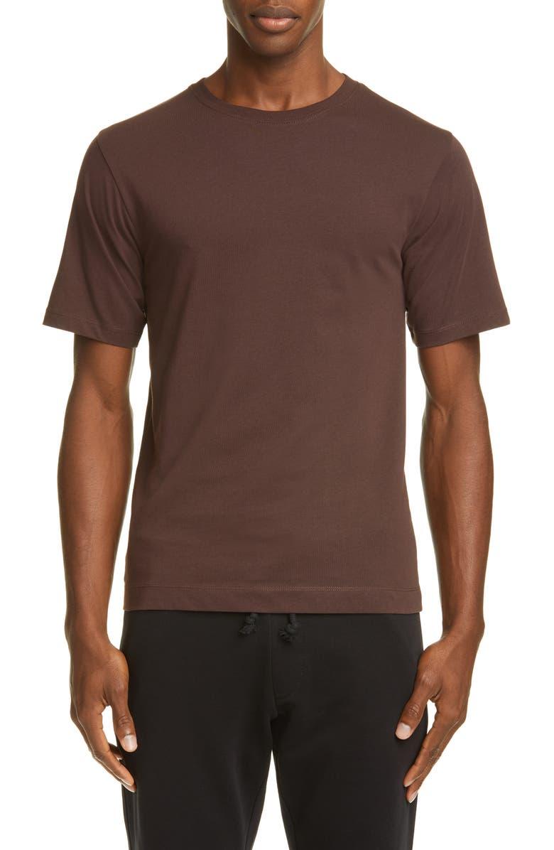 DRIES VAN NOTEN Solid Cotton T-Shirt, Main, color, BROWN