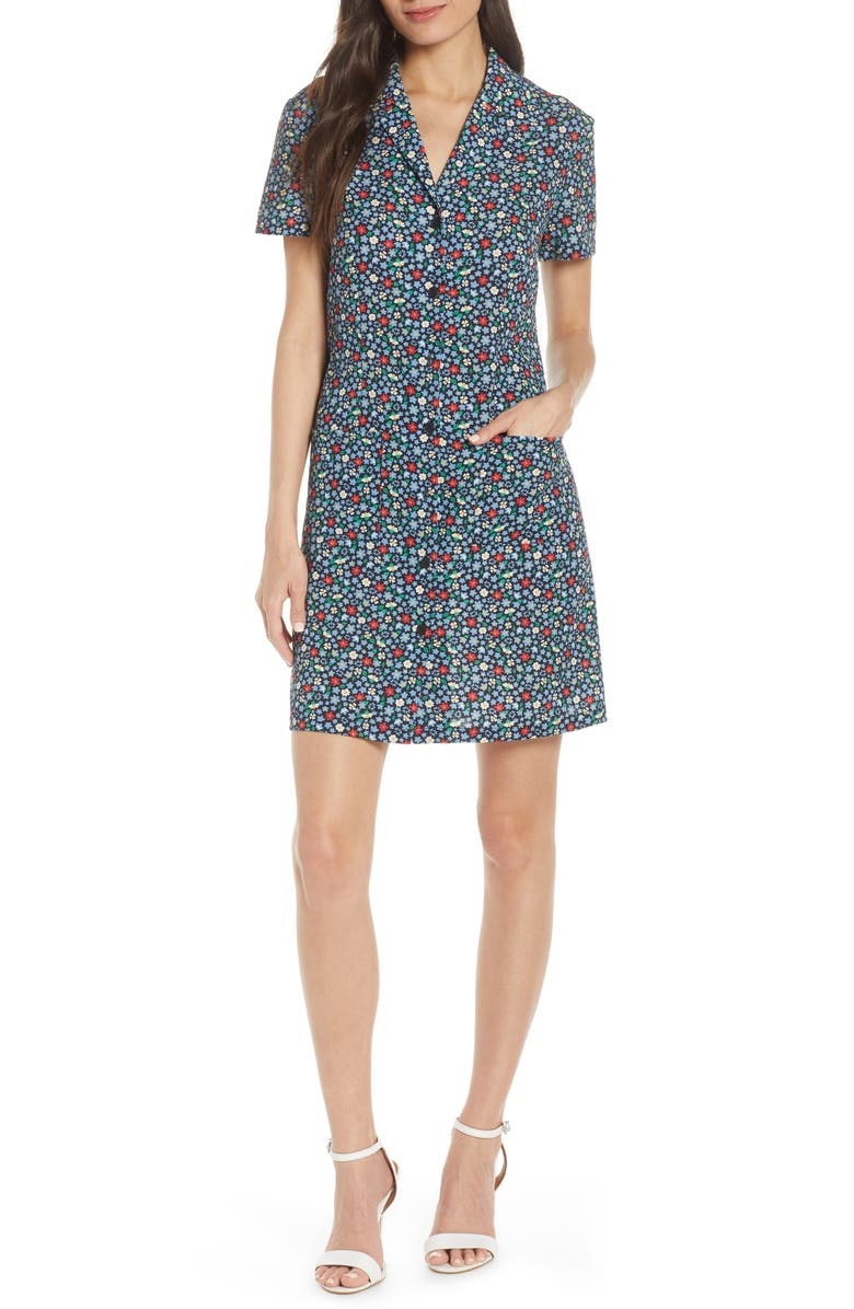 FRENCH CONNECTION Eden Floral Print Shirtdress, Main, color, UTILITY BLUE/ WATERFALL