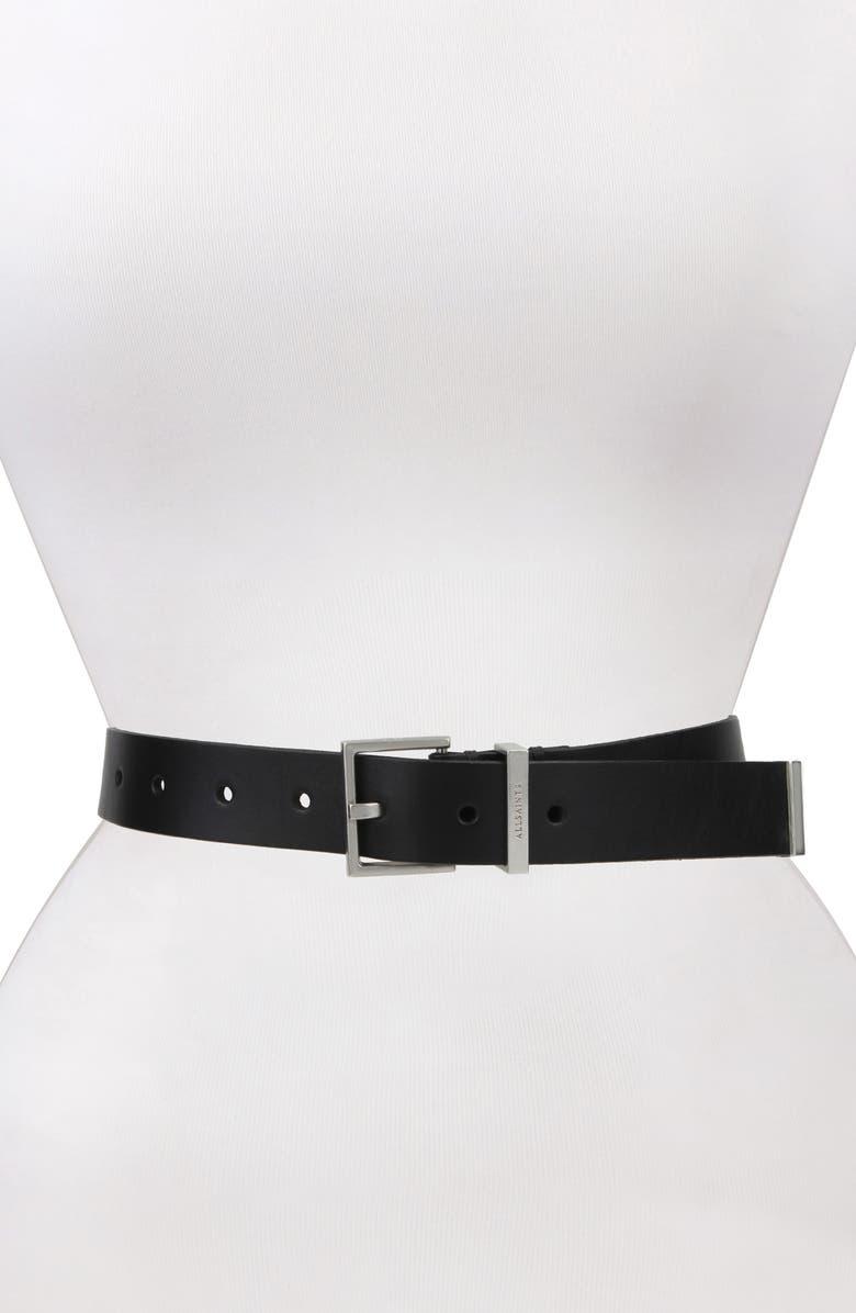 ALLSAINTS Leather Belt, Main, color, BLACK