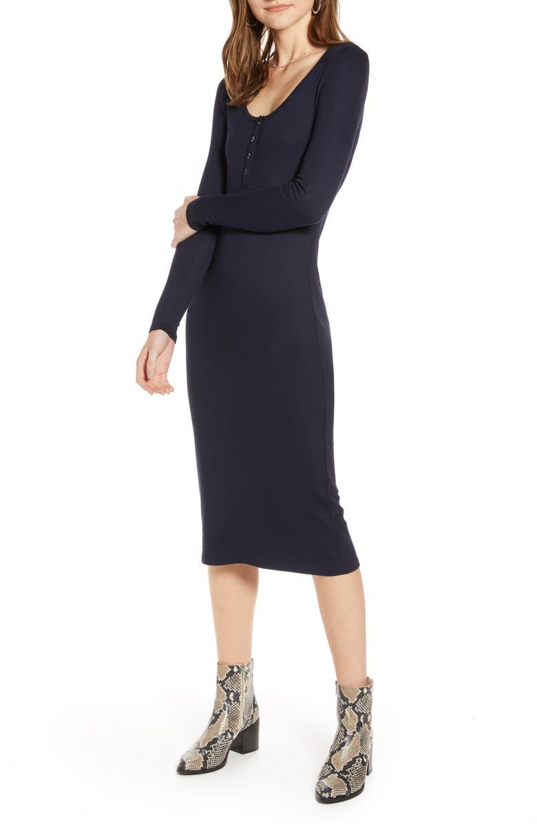 TREASURE & BOND Ribbed Henley Midi Dress, Main, color, NAVY NIGHT