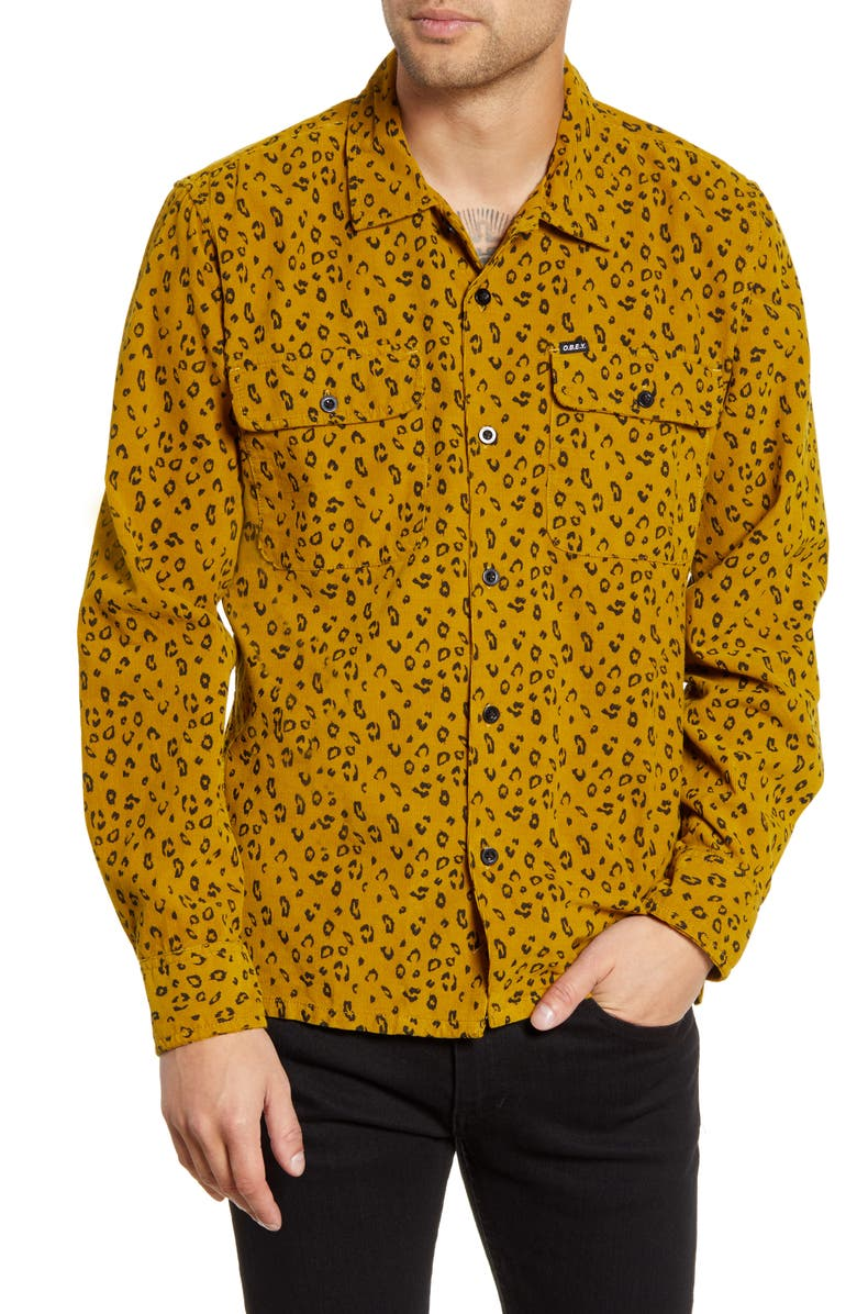 OBEY Lounger Button-Up Corduroy Shirt, Main, color, GOLD MULTI