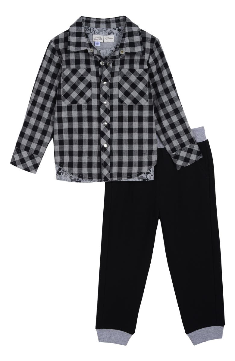 LITTLE BROTHER BY PIPPA & JULIE x Disney Plaid Shirt, T-Shirt & Pants Set, Main, color, 001