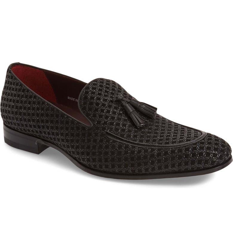 MEZLAN 'Carol' Tassel Loafer, Main, color, BLACK PATTERNED FABRIC