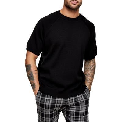 Topman Short Sleeve Crewneck Sweater, Black