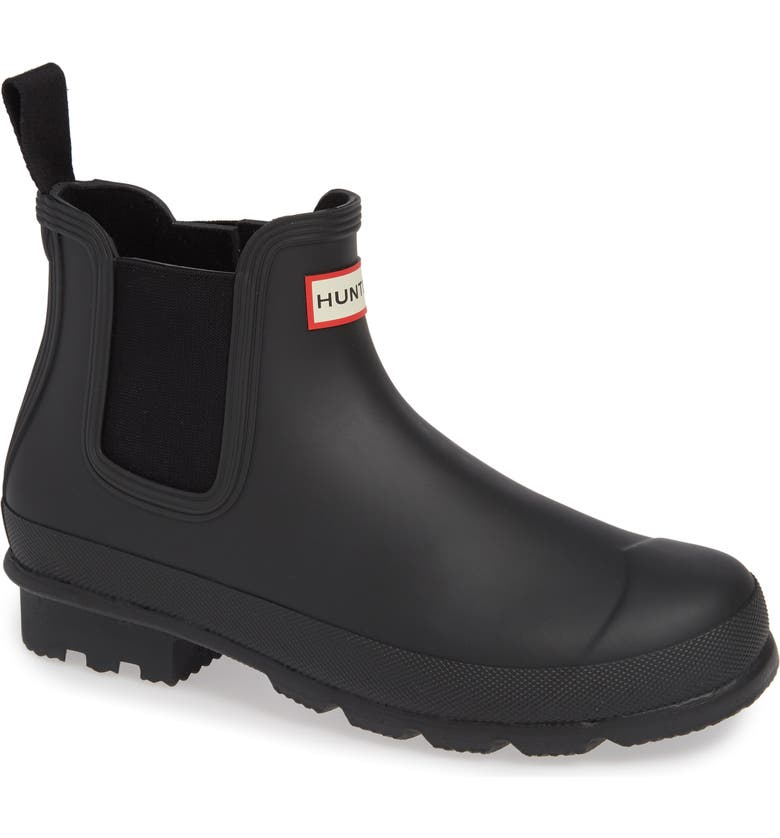 HUNTER 'Original' Waterproof Chelsea Rain Boot, Main, color, BLACK/ BLACK