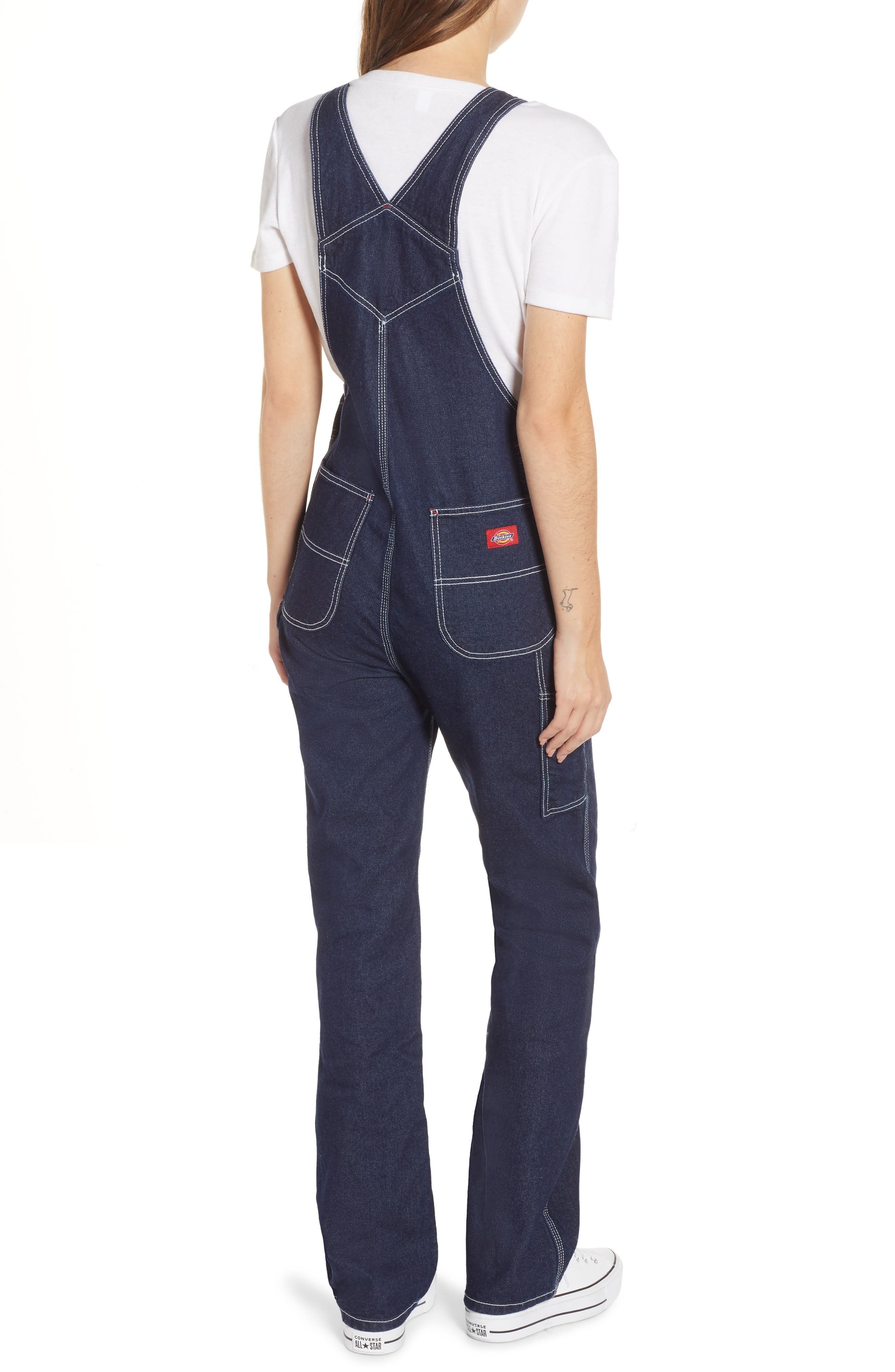 ,                             Relaxed Fit Denim Overalls,                             Alternate thumbnail 2, color,                             DARK RINSE