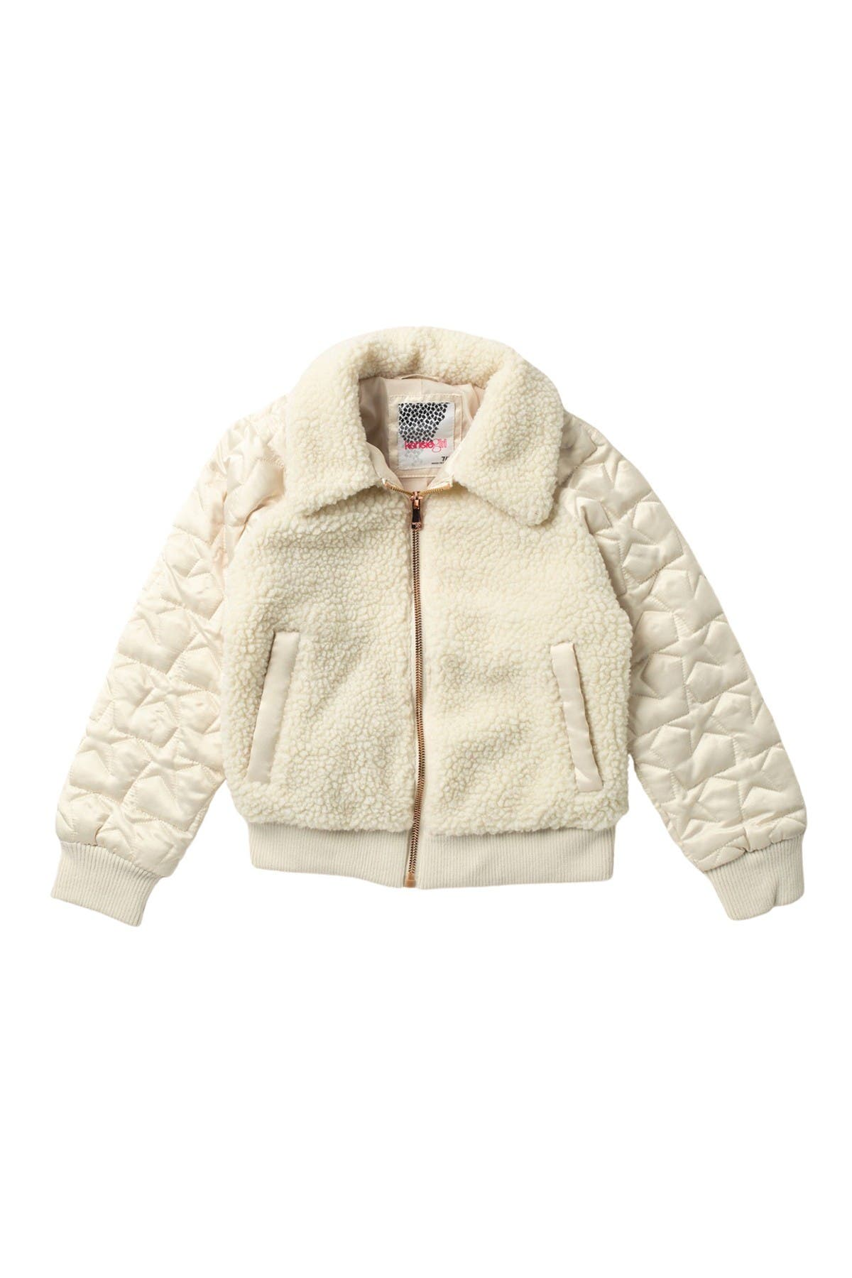 Image of Kensie Teddy Faux Shearling Quilted Bomber Jacket