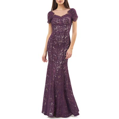 Js Collections Lace Mermaid Gown, Purple