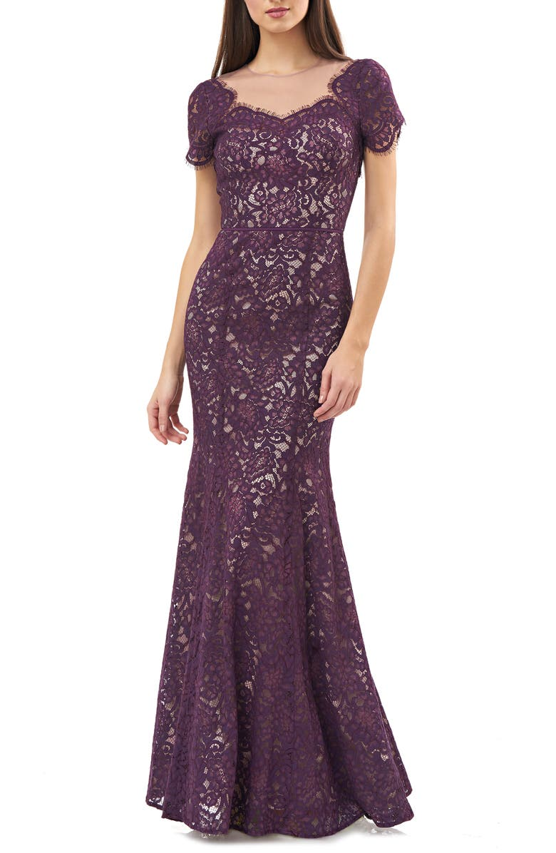 JS COLLECTIONS Lace Mermaid Gown, Main, color, PLUM