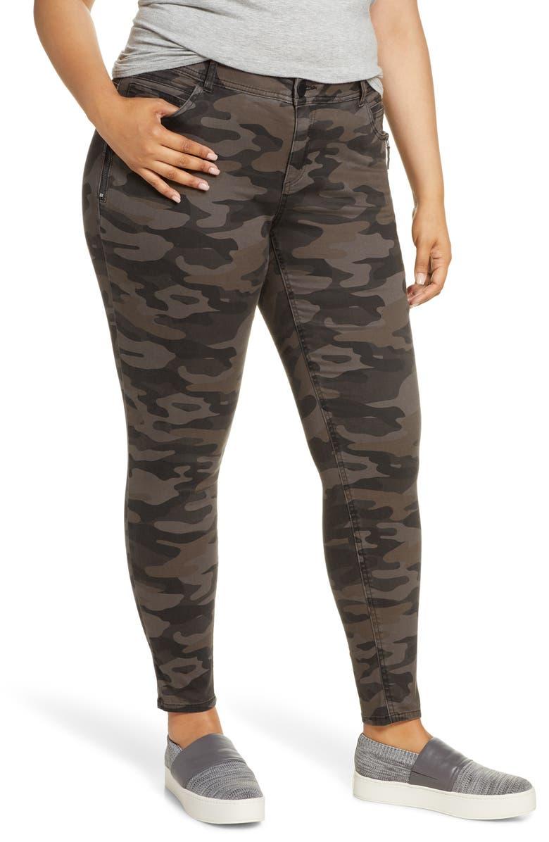 WIT & WISDOM Ab-solution Camo Print Side Zip Pants, Main, color, ESPRESSO