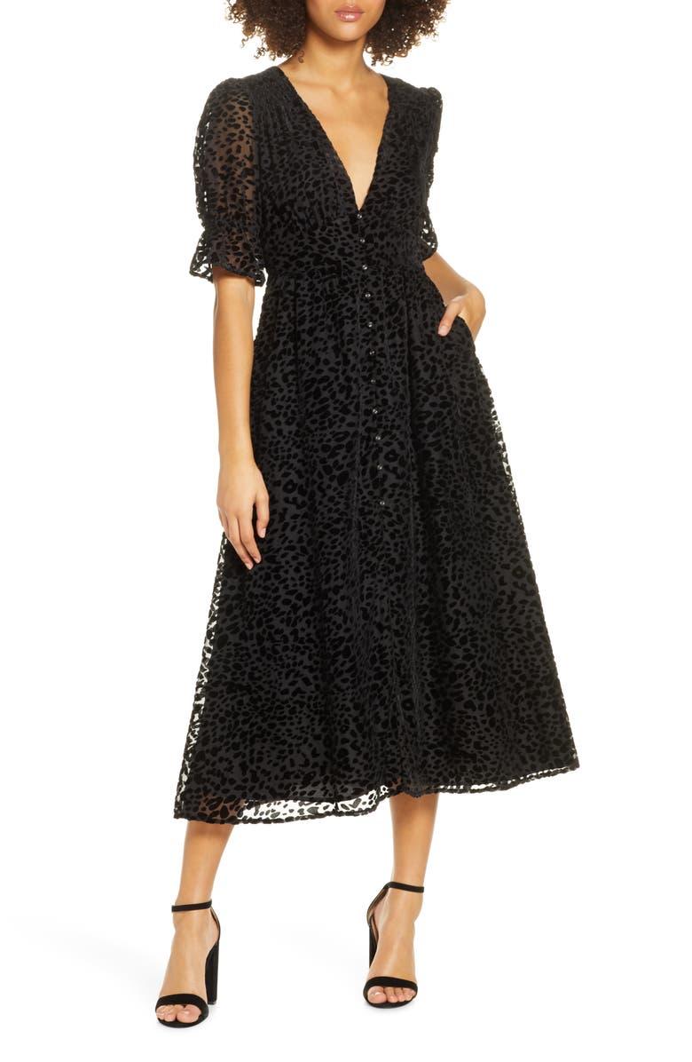 BELLEVUE THE LABEL Giselle Leopard Spot Burnout Velvet Dress, Main, color, BLACK