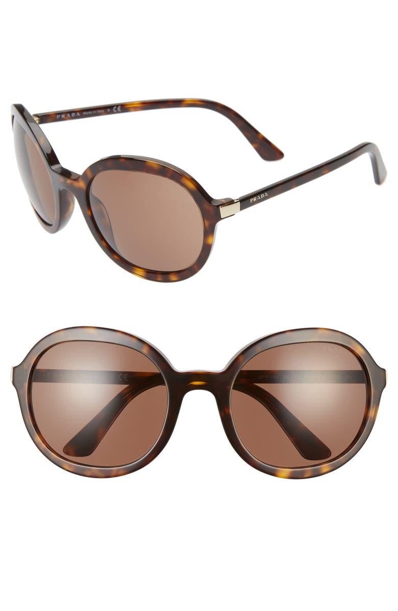PRADA 56mm Round Sunglasses, Main, color, HAVANA/ BROWN SOLID