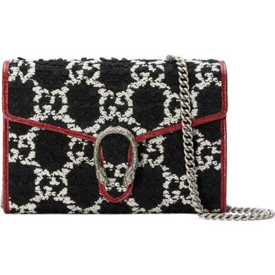 Gucci Mini Tweed Shoulder Bag - Black