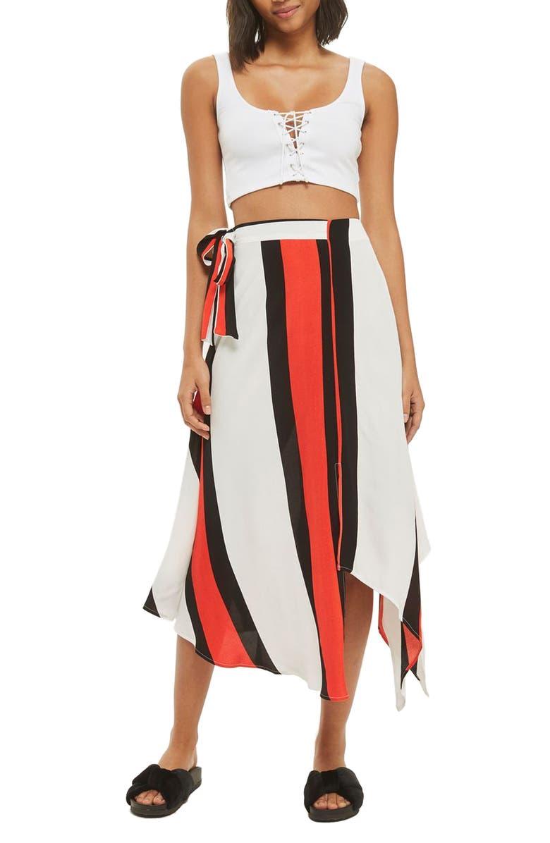 TOPSHOP Tango Stripe Midi Skirt, Main, color, 100
