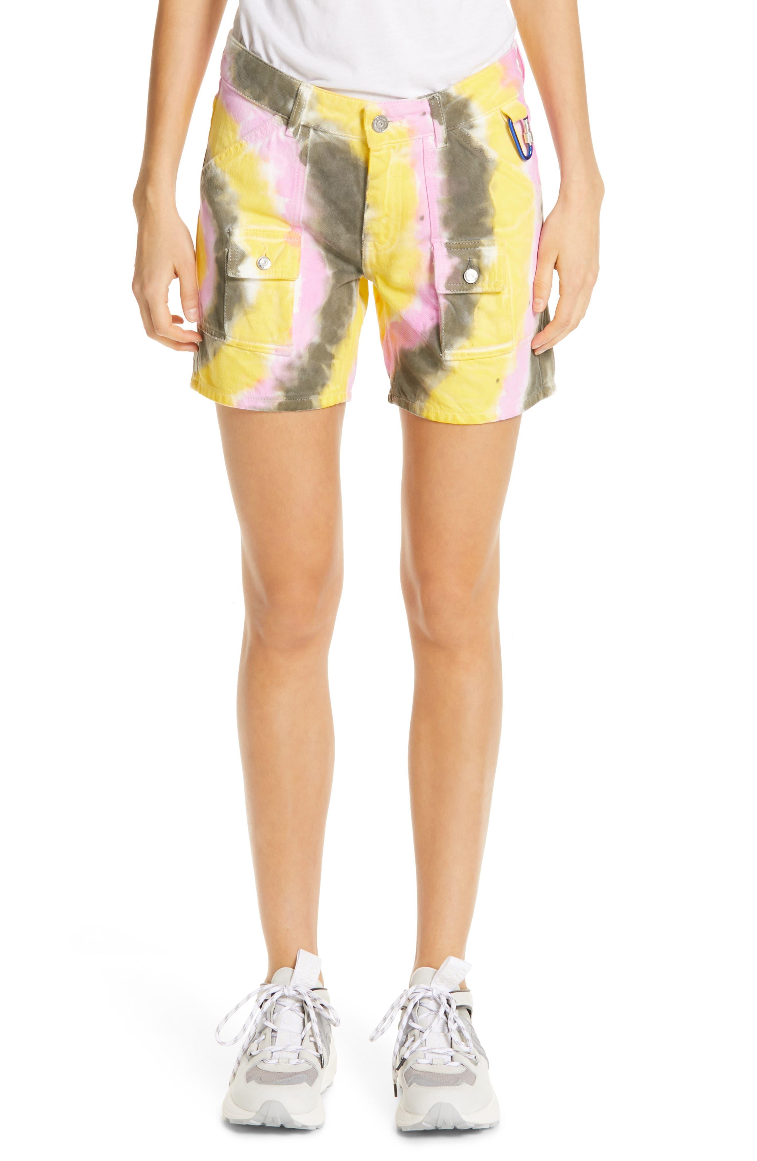 Ganni Colored Wash Denim Shorts, Yellow