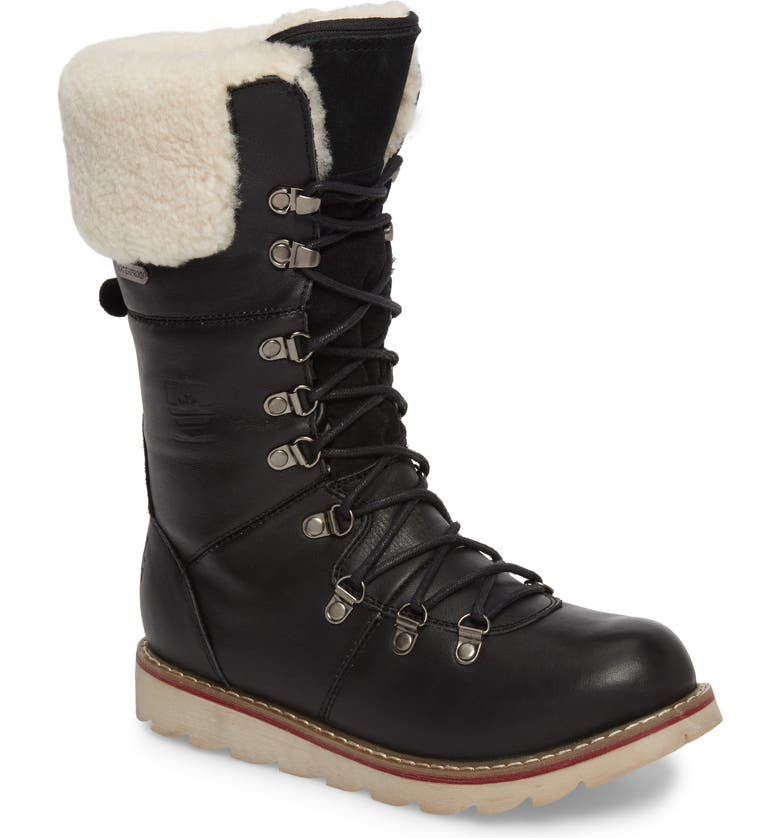 ROYAL CANADIAN Louise Waterproof Snow Boot with Genuine Shearling Cuff, Main, color, 001