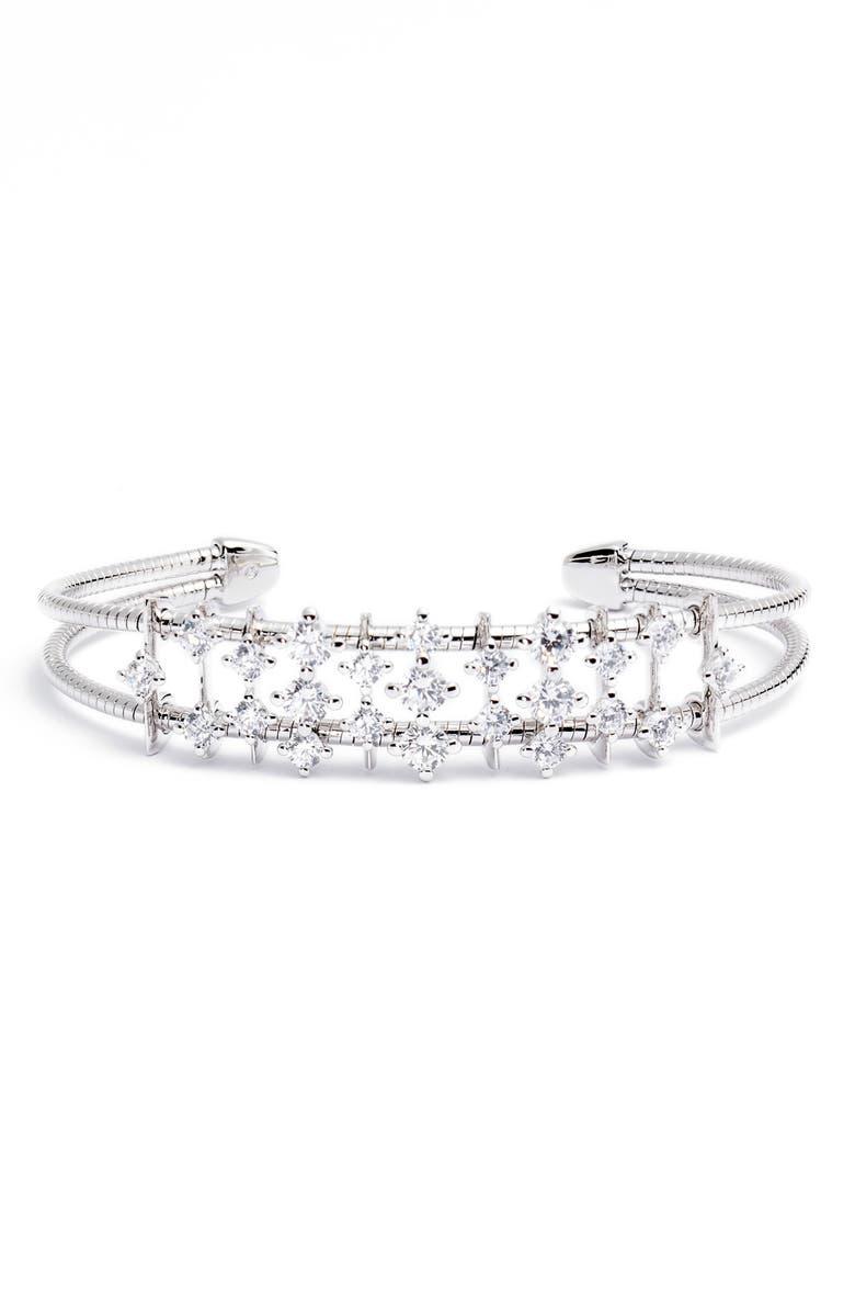 NADRI Issa Cluster Cuff Bracelet, Main, color, RHODIUM