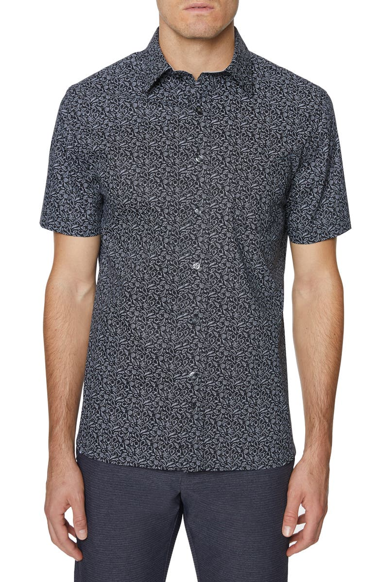 HICKEY FREEMAN Print Barclay Short Sleeve Button-Up Shirt, Main, color, 001