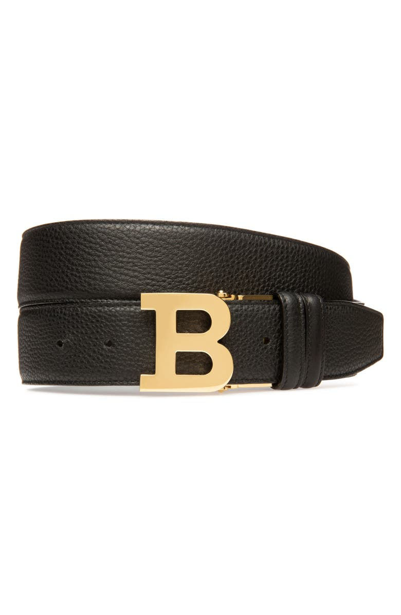 BALLY B Buckle Leather Belt, Main, color, 001