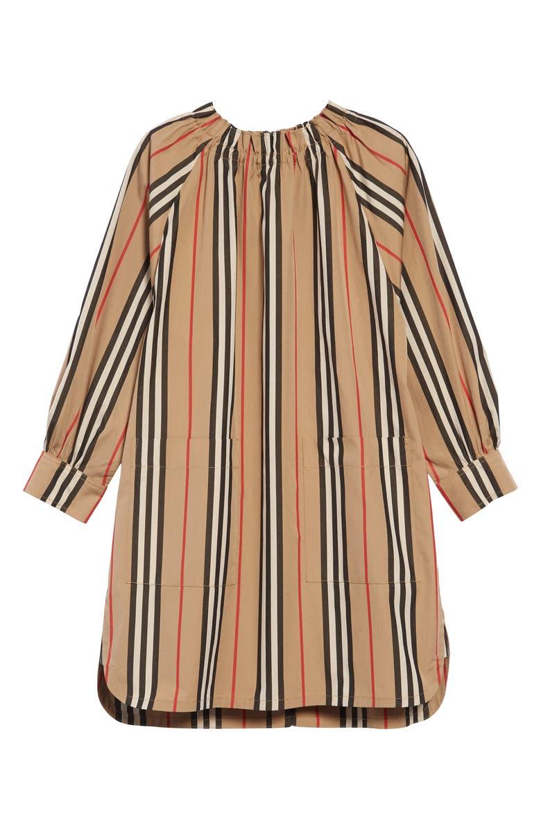 BURBERRY Melodie Stripe Cotton Dress, Main, color, ARCHIVE BEIGE