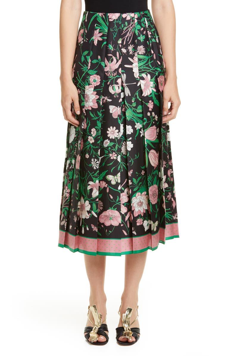 GUCCI Pleated Flora Print Silk Twill Skirt, Main, color, BLACK/ PINK PRINT