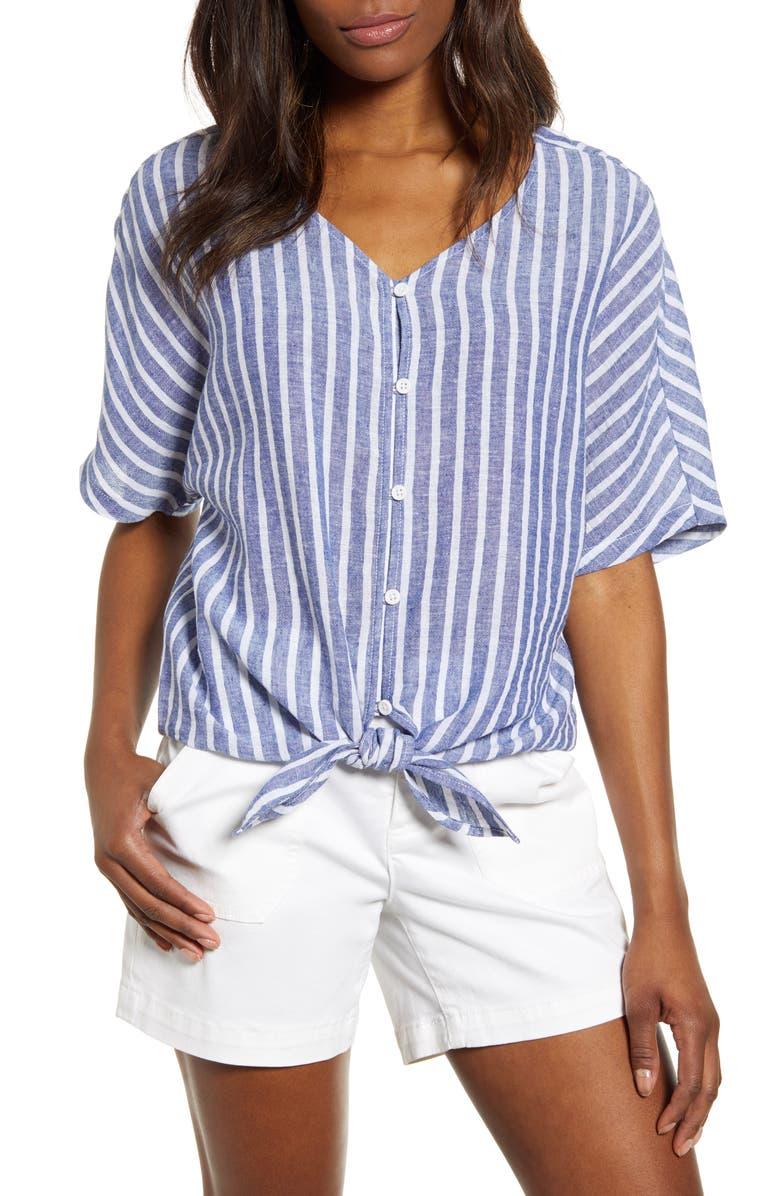 BEACHLUNCHLOUNGE Kelli Stripe Tie Front Linen & Cotton Blouse, Main, color, FRENCH BLUE
