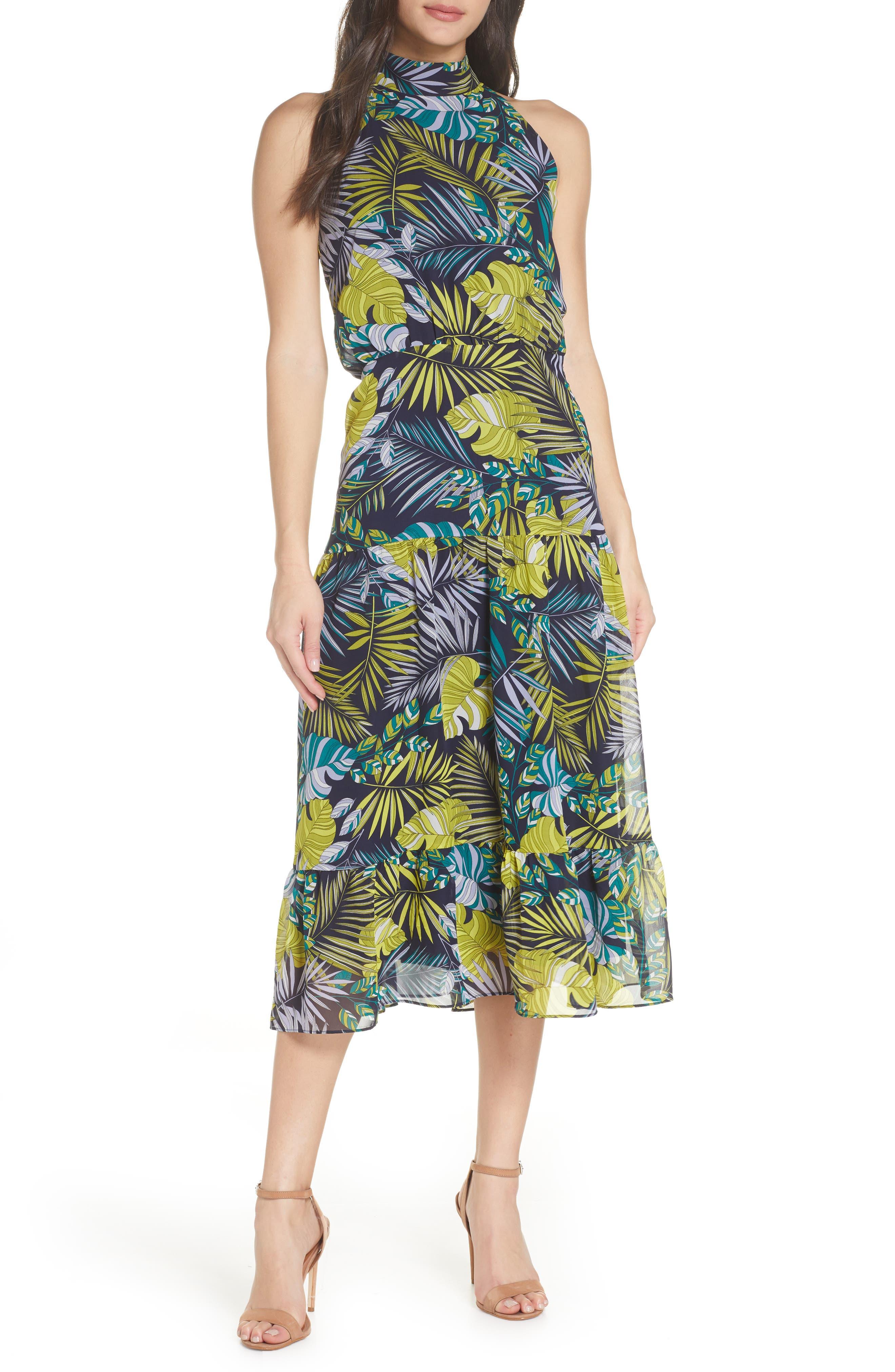 Sam Edelman Tropics Chiffon Midi Dress, Green