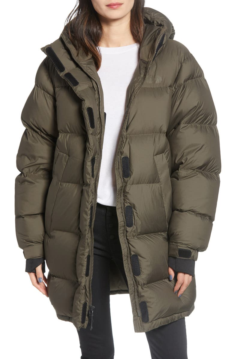 THE NORTH FACE Vistaview 800 Fill Power Hooded Down Coat, Main, color, NEW TAUPE GREEN