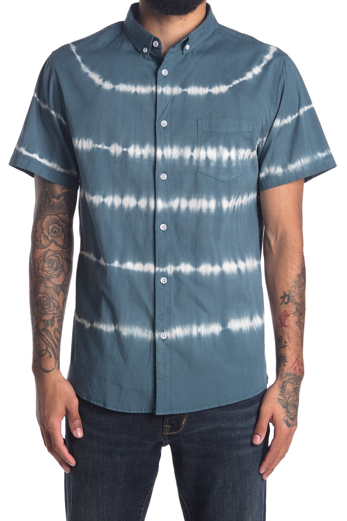 Image of Sovereign Code Hawthorne Tie Dye Patch Pocket Slim Fit Shirt
